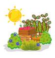 farm harvest pixelated cartoons vector image vector image