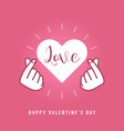 finger heart love sign symbol happy valentines day vector image vector image