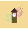 flat on background of Christmas clock vector image vector image