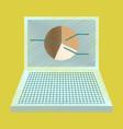 Flat shading style icon laptop chart