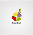 fresh fruit logo icon element and template vector image vector image