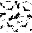 halloween pattern black witch silhouette flying vector image