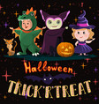 halloween poster with kids in costumes witch vector image
