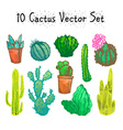 Hand Drawn Isolated Cactuses Set vector image