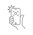 hand hold smartphone and photographed vector image vector image