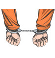handcuffed hands icon hand drawn vector image