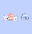 happy easter card funny rabbits painting egg vector image vector image