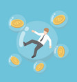 isometric businessman and dollar coin floating in vector image vector image