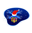 isometric dron santas hat delivering christmas vector image vector image