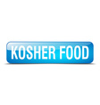 kosher food blue square 3d realistic isolated web vector image vector image