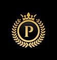 letter p royal crown logo vector image vector image