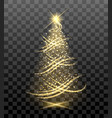 lighting bright christmas tree vector image