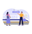 male and female passengers are using city subway vector image