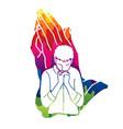 man praying to god prayer cartoon graphic vector image vector image