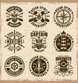 nautical set of nine vintage emblems vector image
