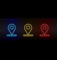 neon icon set location navigation set red vector image vector image