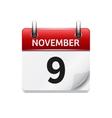 November 9 flat daily calendar icon Date vector image vector image