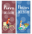 pizza and flowers delivery flyers vector image vector image