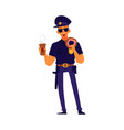 policeman eating a donut and holding cup coffee vector image