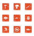 rampage icons set grunge style vector image vector image