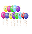 realistic colorful balloons with sign text happy vector image vector image