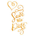 save the date gold text with heart on white vector image vector image