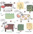 seamless pattern background with cow vector image vector image