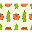 seamless pattern of vegan food - tomato cucumber vector image vector image