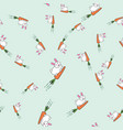 seamless pattern with cute bunnies and carrots vector image vector image