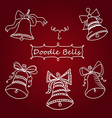 set of icons unique Christmas bells in Doodle vector image