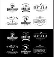 set vintage barber shop emblems vector image vector image