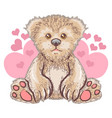 teddy bear love cute heart artwork vector image vector image