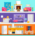 three colorful flat rooms to vector image vector image