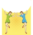 Two woman hold blank white paper poster Pop art