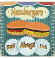 Vintage background with the image of hamburgers vector image vector image