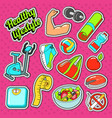 woman healthy lifestyle doodle with sport elements vector image