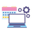 work calendar laptop vector image