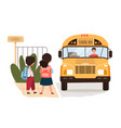 young brother and sister waiting for a school bus vector image