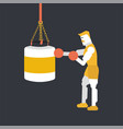 bodybuilder punching the protein bag vector image