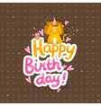 Happy Birthday greeting background with a lion vector image