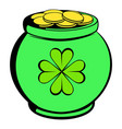 green pot full of gold icon icon cartoon vector image