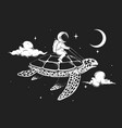 astronaut flying on a turtle at night vector image vector image