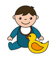 baby boy rubber duck toys vector image