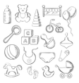Baby childhood and childish sketched icons vector image vector image