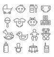 baby line icons set on white background vector image