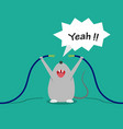 bad rat happy after bite cable cartoon vector image vector image