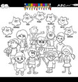 basic colors coloring book with happy kids vector image vector image