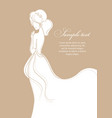 beautiful bride on gold background vector image vector image