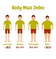 Body mass index men poster vector image vector image
