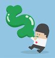 Businessman blowing air into dollar shape balloon vector image vector image